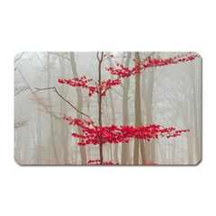 Magic Forest In Red And White Magnet (rectangular) by wsfcow
