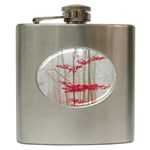 Magic Forest In Red And White Hip Flask (6 oz)