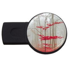 Magic Forest In Red And White Usb Flash Drive Round (2 Gb)  by wsfcow