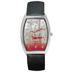 Magic Forest In Red And White Barrel Style Metal Watch