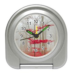 Magic Forest In Red And White Travel Alarm Clocks by wsfcow