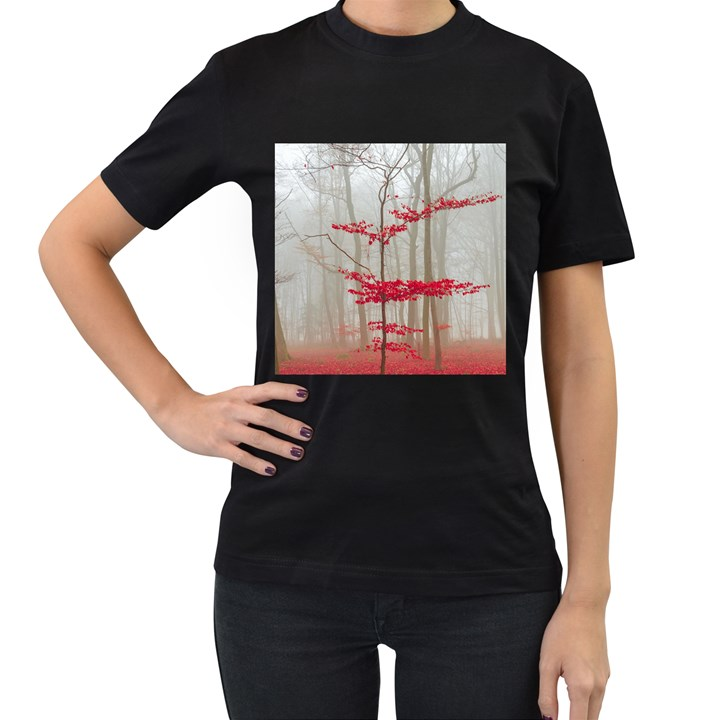 Magic Forest In Red And White Women s T-Shirt (Black) (Two Sided)