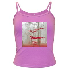 Magic Forest In Red And White Dark Spaghetti Tank