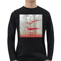 Magic Forest In Red And White Long Sleeve Dark T Shirts