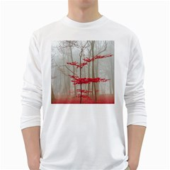 Magic Forest In Red And White White Long Sleeve T Shirts