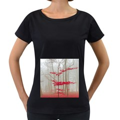 Magic Forest In Red And White Women s Loose Fit T Shirt (black) by wsfcow