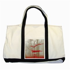 Magic Forest In Red And White Two Tone Tote Bag