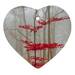 Magic Forest In Red And White Heart Ornament (2 Sides) Back