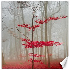 Magic Forest In Red And White Canvas 16  X 16   by wsfcow