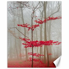 Magic Forest In Red And White Canvas 11  X 14   by wsfcow