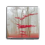 Magic Forest In Red And White Memory Card Reader (Square) Front