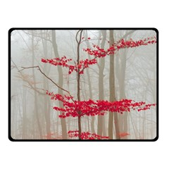 Magic Forest In Red And White Fleece Blanket (small) by wsfcow
