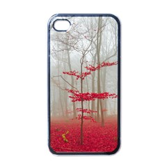Magic Forest In Red And White Apple Iphone 4 Case (black) by wsfcow