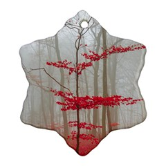 Magic Forest In Red And White Snowflake Ornament (2 Side)