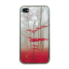Magic Forest In Red And White Apple Iphone 4 Case (clear) by wsfcow