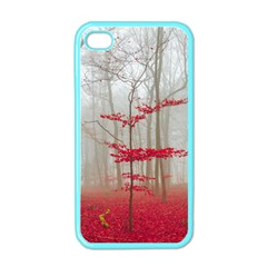 Magic Forest In Red And White Apple Iphone 4 Case (color) by wsfcow