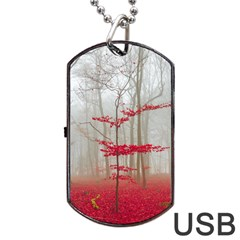 Magic Forest In Red And White Dog Tag Usb Flash (two Sides)  by wsfcow