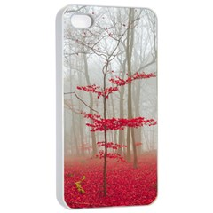 Magic Forest In Red And White Apple Iphone 4/4s Seamless Case (white) by wsfcow