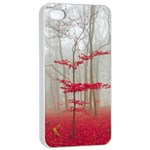 Magic Forest In Red And White Apple iPhone 4/4s Seamless Case (White)