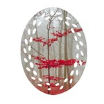 Magic Forest In Red And White Oval Filigree Ornament (2-Side)  Back