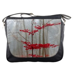 Magic Forest In Red And White Messenger Bags by wsfcow