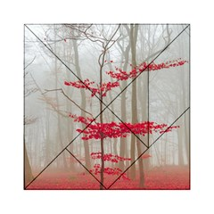 Magic Forest In Red And White Acrylic Tangram Puzzle (6  X 6 ) by wsfcow