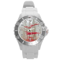 Magic Forest In Red And White Round Plastic Sport Watch (l) by wsfcow