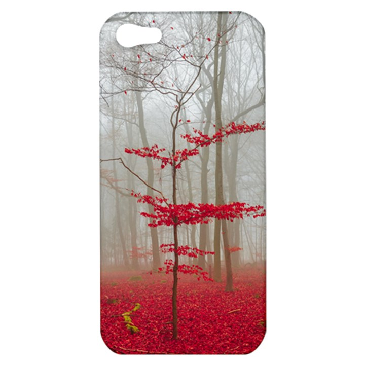 Magic Forest In Red And White Apple iPhone 5 Hardshell Case