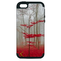 Magic Forest In Red And White Apple Iphone 5 Hardshell Case (pc+silicone)