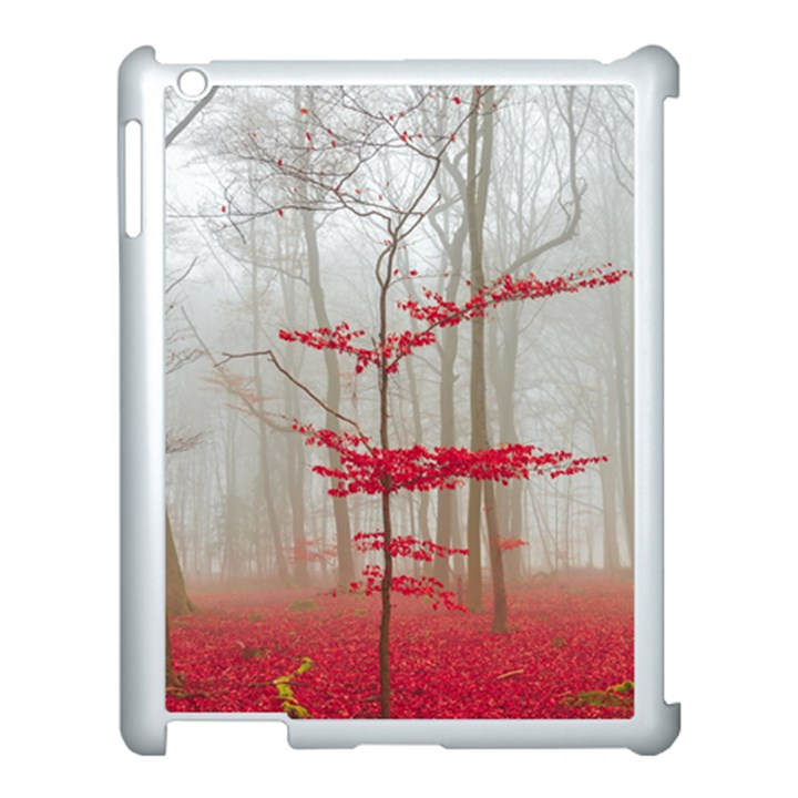 Magic Forest In Red And White Apple iPad 3/4 Case (White)