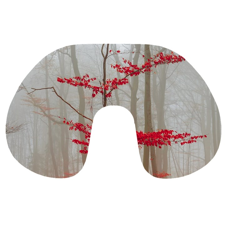 Magic Forest In Red And White Travel Neck Pillows