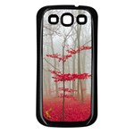 Magic Forest In Red And White Samsung Galaxy S3 Back Case (Black) Front