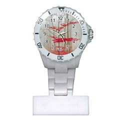 Magic Forest In Red And White Plastic Nurses Watch by wsfcow