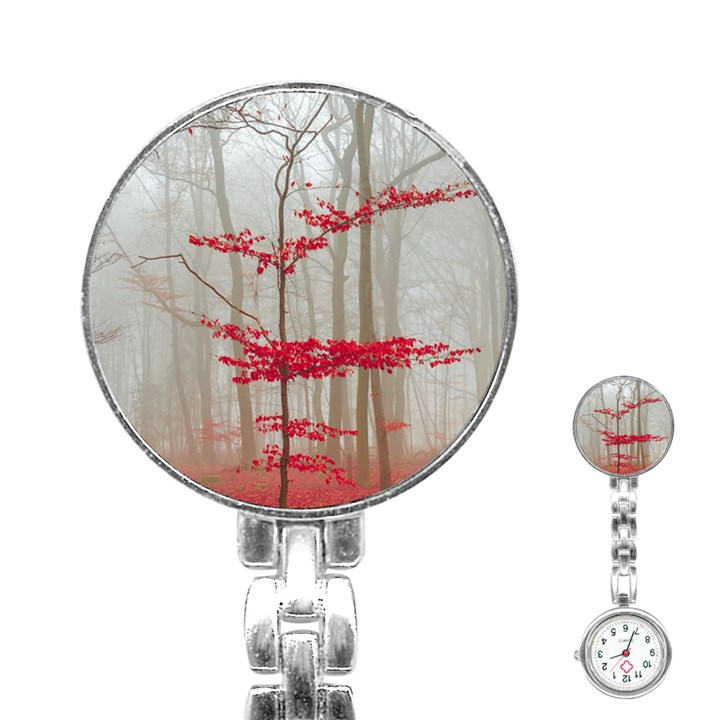 Magic Forest In Red And White Stainless Steel Nurses Watch