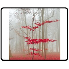 Magic Forest In Red And White Double Sided Fleece Blanket (medium)  by wsfcow