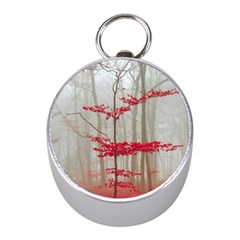 Magic Forest In Red And White Mini Silver Compasses by wsfcow