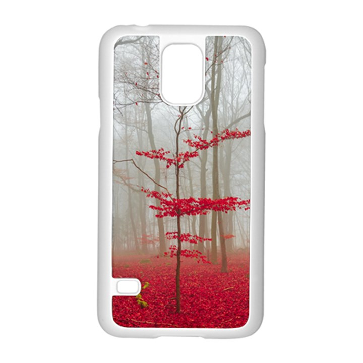 Magic Forest In Red And White Samsung Galaxy S5 Case (White)