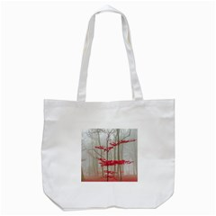 Magic Forest In Red And White Tote Bag (white) by wsfcow