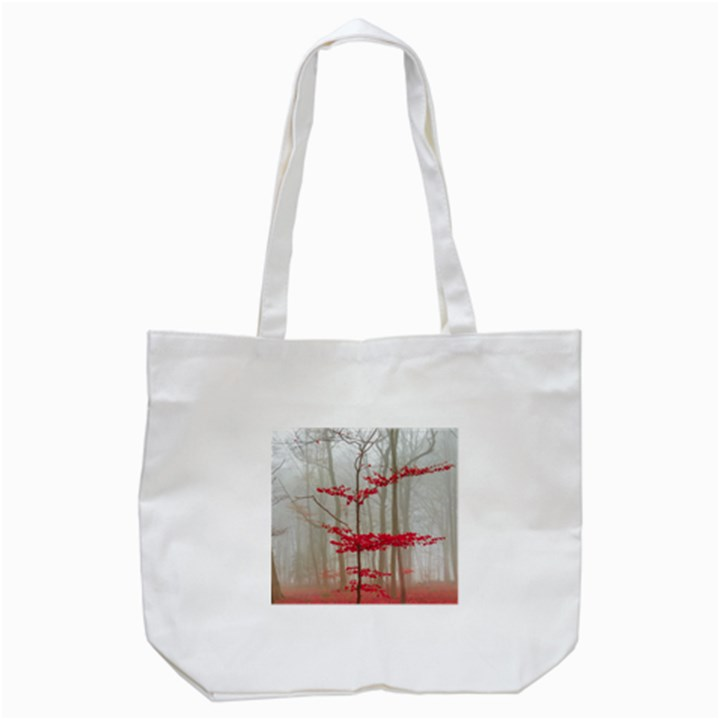 Magic Forest In Red And White Tote Bag (White)