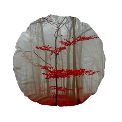 Magic Forest In Red And White Standard 15  Premium Flano Round Cushions by wsfcow