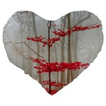 Magic Forest In Red And White Large 19  Premium Flano Heart Shape Cushions Back