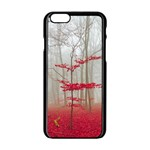 Magic Forest In Red And White Apple iPhone 6/6S Black Enamel Case