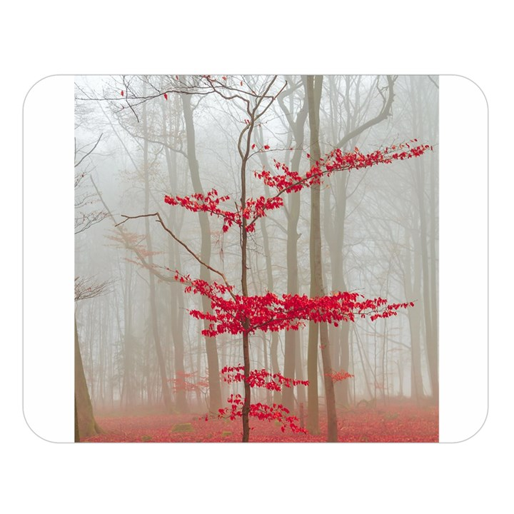Magic Forest In Red And White Double Sided Flano Blanket (Large)