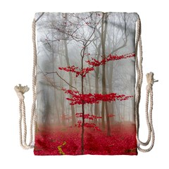 Magic Forest In Red And White Drawstring Bag (large)