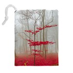 Magic Forest In Red And White Drawstring Pouches (Extra Large) Back