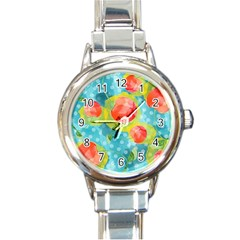 Red Cherries Round Italian Charm Watch
