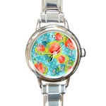 Red Cherries Round Italian Charm Watch Front