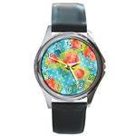 Red Cherries Round Metal Watch Front