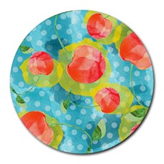 Red Cherries Round Mousepads by DanaeStudio