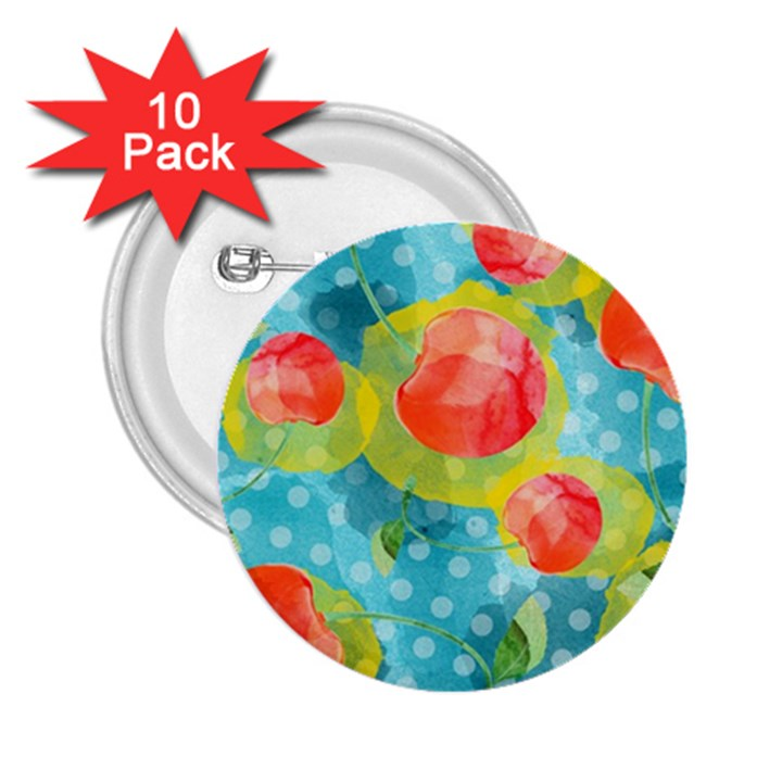 Red Cherries 2.25  Buttons (10 pack)